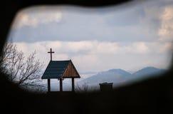 Крест на деревянной крыше Стоковое Изображение