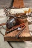 Крест, ногти, крона терниев и жемчуг Стоковое Изображение RF