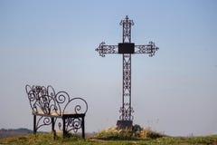 Крест погоста в силуэте Стоковые Изображения RF