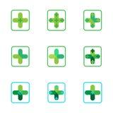 Крест плюс медицинские значки логотипа зеленого цвета фармации Стоковое Изображение RF