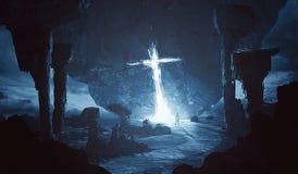 Крест светя на мире чужеземца Стоковая Фотография