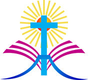 Крест с библией Стоковые Фото