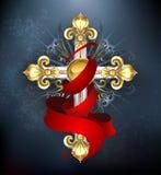 Крест с красной лентой Стоковое Изображение