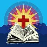 Крест с открытой библией Стоковые Изображения