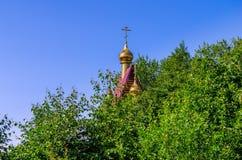 Крест Христоса за деревьями Стоковые Фотографии RF