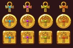 Крест Ankh вектора золотой с покрашенными драгоценными самоцветами Египетские золотые значки в других вариантах иллюстрация вектора