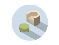 Кресло вектора равновеликое современное бежевое с pouf Стоковое Фото