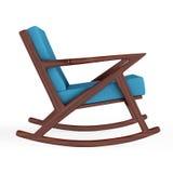 Кресло-качалка обитая с голубой тканью перевод 3d Стоковая Фотография RF
