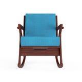 Кресло-качалка обитая с голубой тканью перевод 3d Стоковые Фото