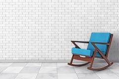 Кресло-качалка обитая с голубой тканью перевод 3d Стоковые Фотографии RF