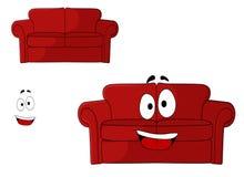 Кресло потехи обитое шаржем красное иллюстрация вектора