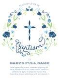 Крещение голубого и зеленого мальчика/приглашение крестить с перекрестным дизайном и цветками - разрешение или вектор высоты Стоковое Изображение