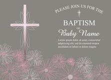 Крещение, крестить, первый шаблон приглашения общности с цветками и взаимный вектор Стоковое Фото