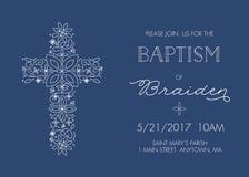 Крещение, крестя шаблон приглашения с богато украшенным перекрестным дизайном - вектором Стоковые Фото