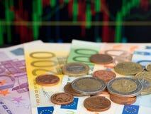 Кредитки и монетки евро Стоковые Изображения