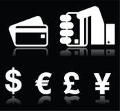 Кредитная карточка, значки знаков валюты белые на черноте иллюстрация вектора