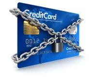 Кредитная карточка и замок (включенный путь клиппирования) Иллюстрация штока