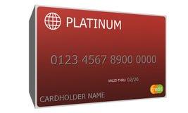 кредитная карточка красного цвета платины 3D иллюстрация вектора