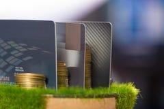 Кредитная карточка, монетки и деньги на таблице отмелый фокус, мягкий t Стоковая Фотография