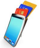 Кредитная карточка онлайн представляет Всемирный Веб и купила бесплатная иллюстрация