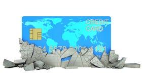 Кредитная карточка под обрушенной стеной иллюстрация штока