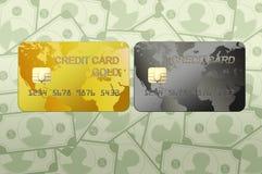 Кредитная карточка с деньгами стоковая фотография