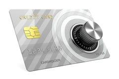 Кредитная карточка с замком 3D иллюстрация вектора