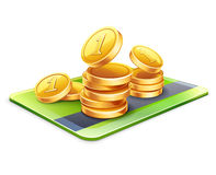 Кредитная карточка с монетками Стоковое Фото