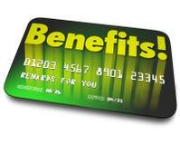 Кредитная карточка слова преимуществ награждает преданность покупателя программы Стоковое Фото