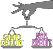 Кредит персоны хороший плохой вычисляет по маcштабу выбор бесплатная иллюстрация