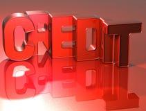 кредит слова 3D на красной предпосылке иллюстрация штока