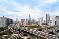 Кривая конкретной дороги виадука в Шанхае Стоковая Фотография
