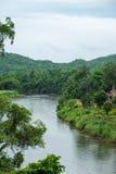 Кривая реки Kwai Noi в провинции Kanchanaburi, Таиланде Стоковая Фотография