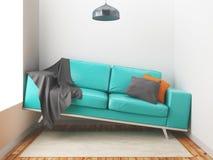 Криво софа, большая софа в малой комнате, 3d представляет иллюстрацию иллюстрация вектора