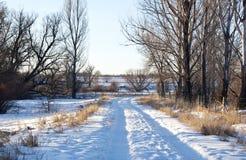 кривые меньшяя правая дорога снежная к Стоковая Фотография
