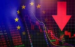 Кризиса денег евро проблемы креня вклада кризиса евро стрелка цены экономического финансового красная вниз с падения диаграммы иллюстрация штока