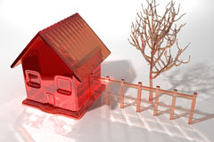 Кристаллический дом с деревом в задворк Стоковые Изображения