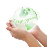 кристаллический мир руки Стоковое фото RF