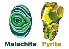 кристаллический пирит минерала малахита Стоковые Изображения RF