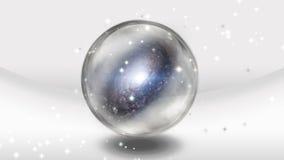 Кристаллическая сфера с галактикой иллюстрация вектора