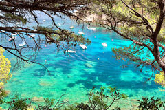 Кристаллические воды близко к красивому пляжу Aiguablava в деревне Begur, Средиземном море, Каталонии, Испании Стоковые Изображения