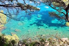 Кристаллические воды близко к красивому пляжу Aiguablava в деревне Begur, Средиземном море, Каталонии, Испании Стоковые Изображения RF