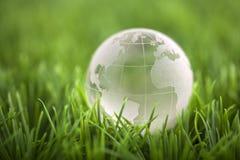 Кристаллический глобус на зеленой траве Стоковое Фото