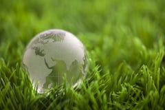 Кристаллический глобус на зеленой траве Стоковое фото RF
