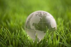 Кристаллический глобус на зеленой траве Стоковые Фото