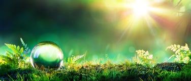 Кристаллический зеленый глобус на мхе Стоковые Фотографии RF
