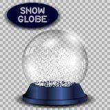 Кристаллический изолированный глобус снега прозрачный и иллюстрация штока