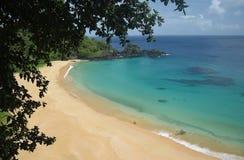 Кристаллический пляж моря в Фернандо de Noronha Стоковая Фотография