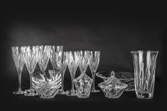 Кристаллическое стекло на черной предпосылке Стоковая Фотография