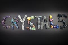 Кристаллы говоря кристаллы по буквам слова стоковая фотография